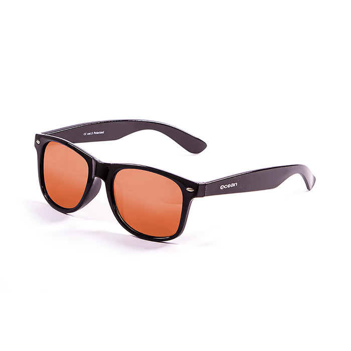ocean sunglasses KRNglasses model BEACH SKU 18202.21 with matte brown frame and revo blue iridium lens