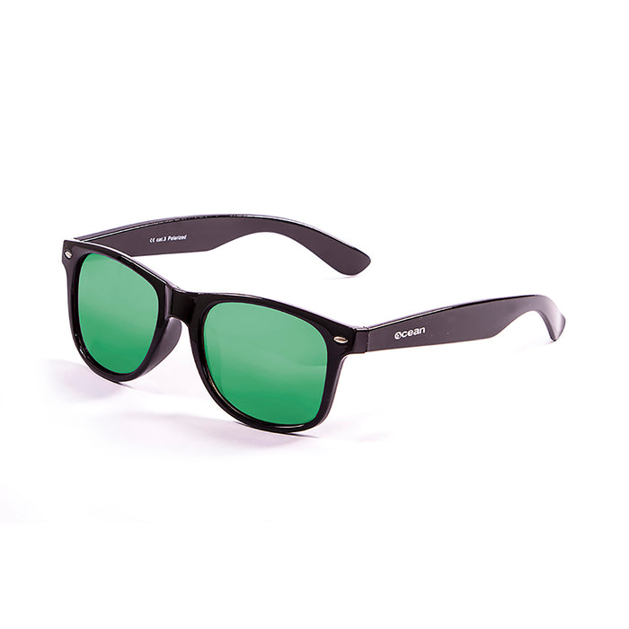 ocean sunglasses KRNglasses model BEACH SKU 18202.13 with transparent blue light frosted frame and revo blue lens