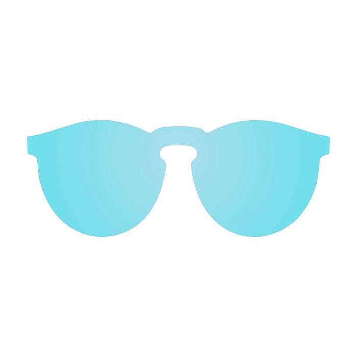 ocean sunglasses KRNglasses model BERLIN SKU 20.24 with transparent black frame and blue mirror lens
