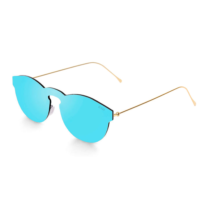 ocean sunglasses KRNglasses model BERLIN SKU 20.23 with transparent white frame and gold mirror lens