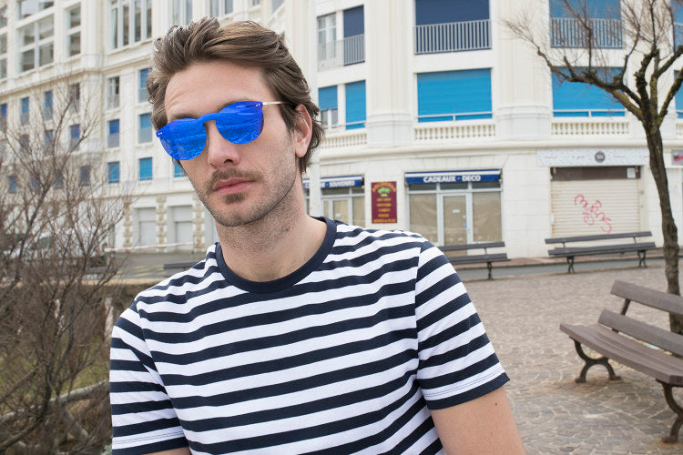 ocean sunglasses KRNglasses model BERLIN SKU 20.13 with transparent yellow frame and transparent gradient brown lens