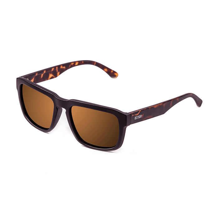ocean sunglasses KRNglasses model BIDART SKU 30.5 with shiny black frame and revo blue lens