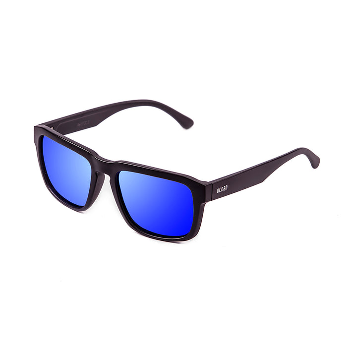 ocean sunglasses KRNglasses model BIDART SKU 30.4 with matte black frame and revo sky blue lens