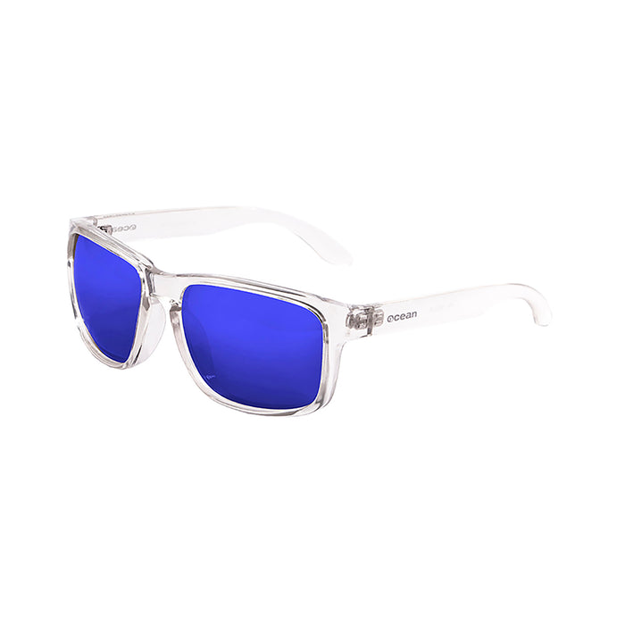 ocean sunglasses KRNglasses model BLUE SKU 19202.16 with transparent white frame and revo violet lens