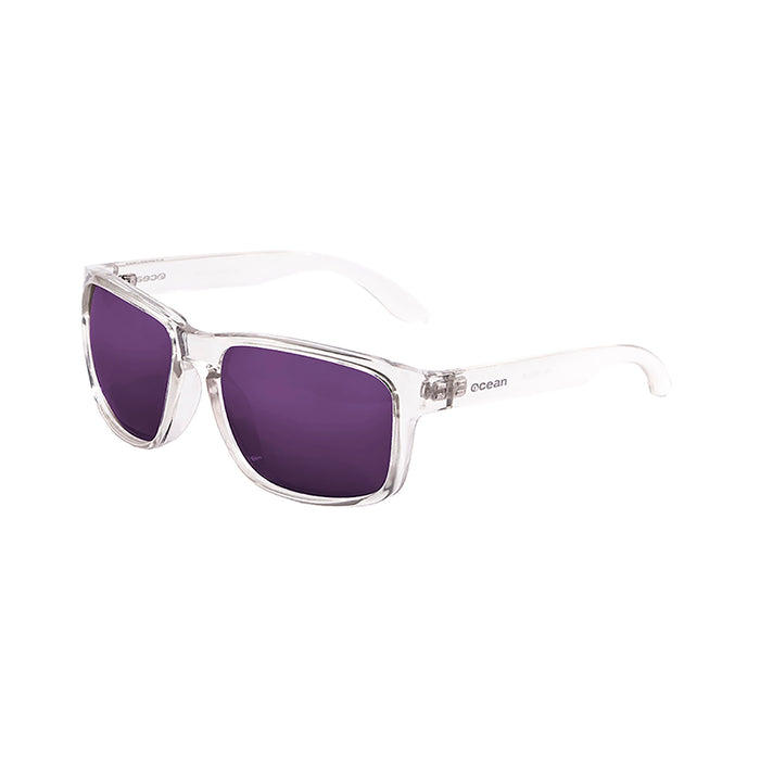 ocean sunglasses KRNglasses model BLUE SKU 19202.15 with transparent white frame and revo blue lens