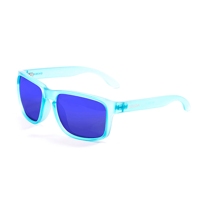 ocean sunglasses KRNglasses model BLUE SKU 19202.13 with transparent white frame and revo green lens
