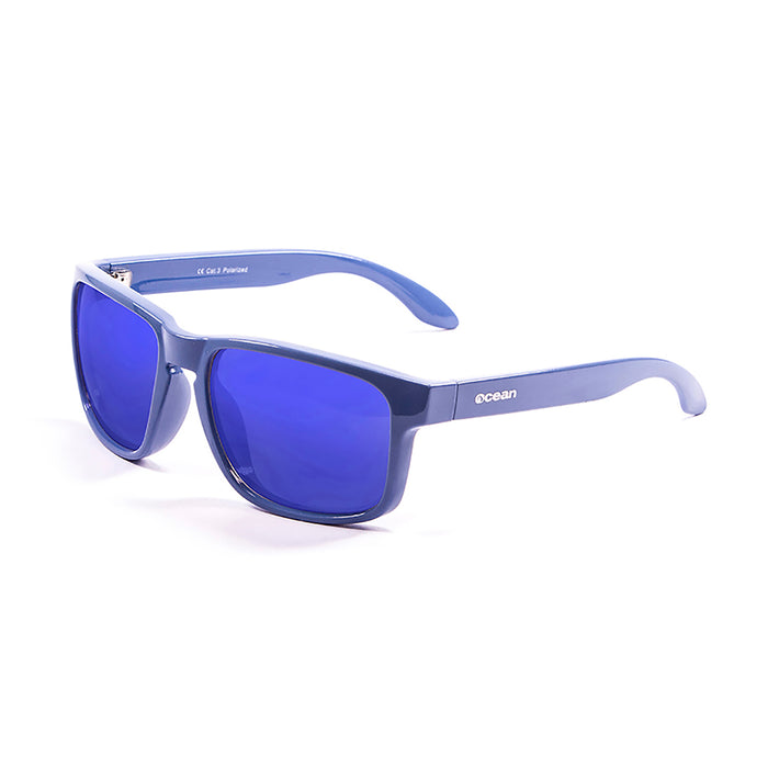 ocean sunglasses KRNglasses model BLUE SKU 19202.12 with shiny white frame and revo blue lens