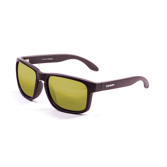 ocean sunglasses KRNglasses model BLUE SKU 19202.7 with matte black frame and revo yellow lens