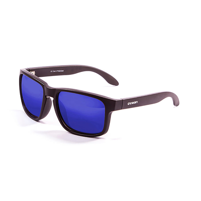 ocean sunglasses KRNglasses model BLUE SKU 19202.6 with matte black frame and revo violet lens