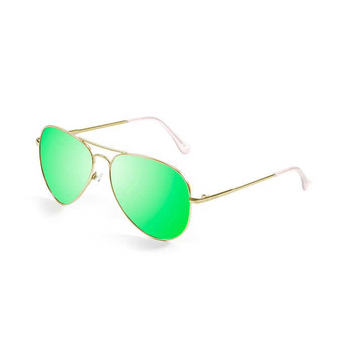 ocean sunglasses KRNglasses model BONILA SKU 18112.1 with shiny gold frame and revo blue sky flat lens