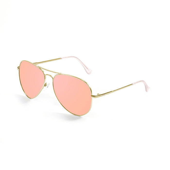 ocean sunglasses KRNglasses model BONILA SKU 18111.4 with shiny gold frame and pink flat revo lens