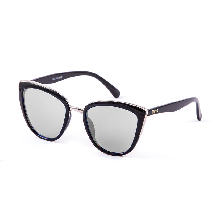 ocean sunglasses KRNglasses model CAT SKU 18113.3 with shiny black & gold frame and silver mirror flat lens