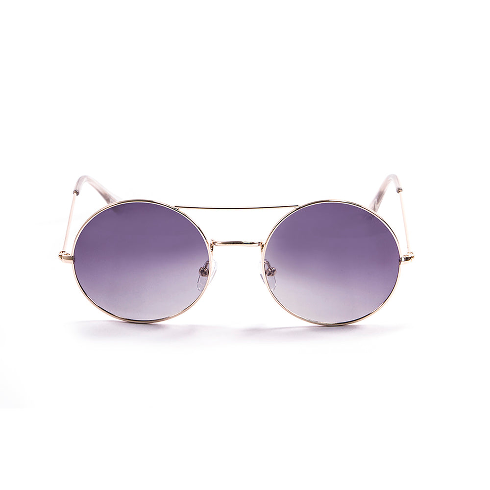 ocean sunglasses KRNglasses model CIRCLE SKU 10.0 with shiny gold frame and gradient grey lens