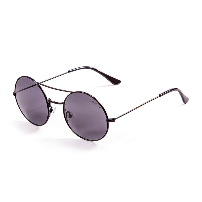 ocean sunglasses KRNglasses model CIRCLE SKU 10.7 with shinny gold frame and silver revo flat lens