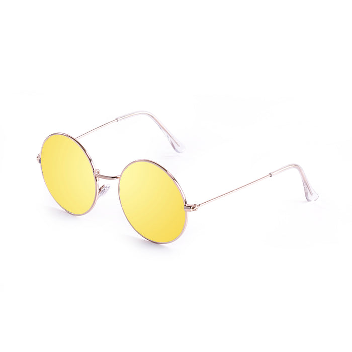 ocean sunglasses KRNglasses model CIRCLE SKU 10.2 with shiny silver frame and smoke lens