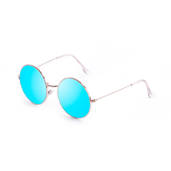 ocean sunglasses KRNglasses model CIRCLE SKU 10.6 with shinny gold frame and gold revo flat lens