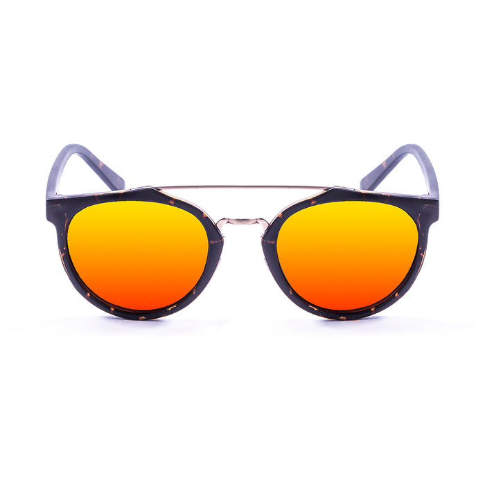 ocean sunglasses KRNglasses model CLASSIC SKU 73001.1 with demy brown frame and revo blue lens
