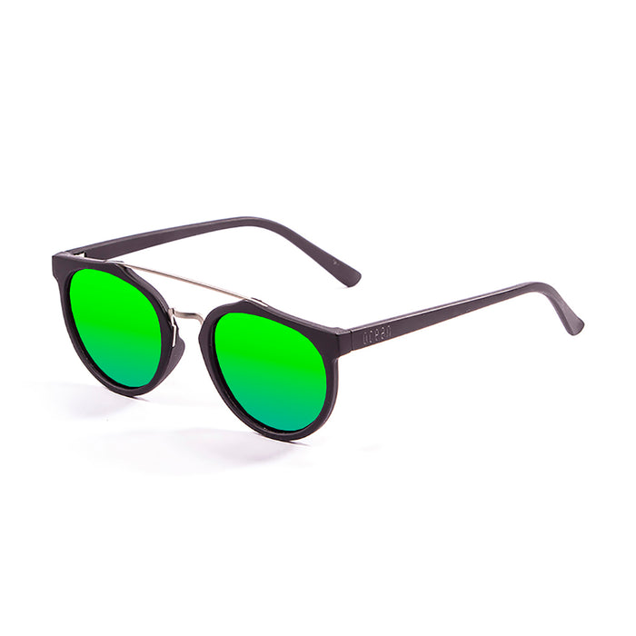 ocean sunglasses KRNglasses model CLASSIC SKU 73002.0 with matte black frame and revo red lens