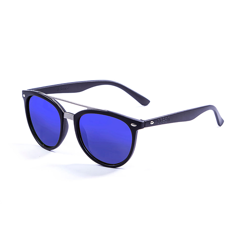 ocean sunglasses KRNglasses model CLASSIC SKU 74001.0 with matte black frame and revo blue lens