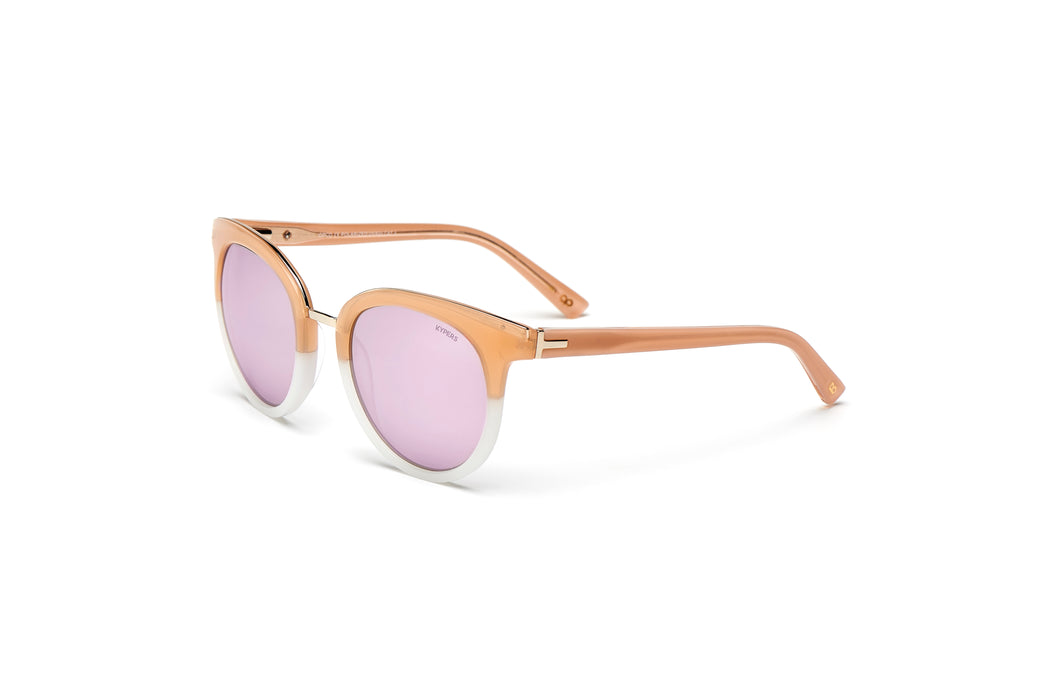 KYPERS sunglasses model COCO CO004 with beige frame and pink mirror lens