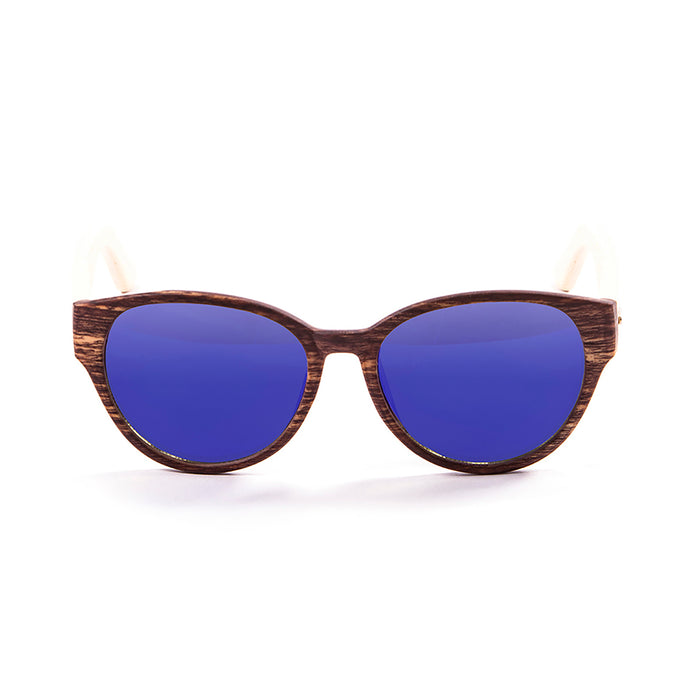 ocean sunglasses KRNglasses model COOL SKU 51002.3 with bamboo brown frame and revo green lens