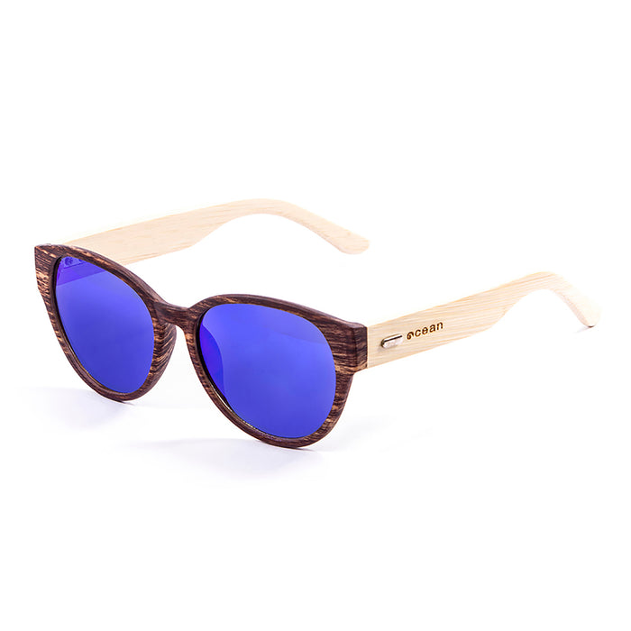 ocean sunglasses KRNglasses model COOL SKU 51001.3 with bamboo brown frame and revo blue lens