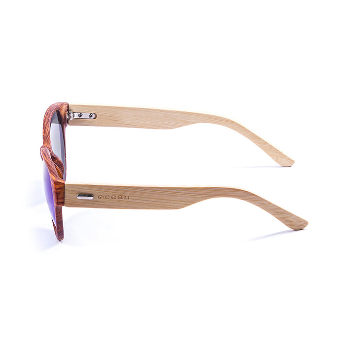 ocean sunglasses KRNglasses model COOL SKU 51001.2 with bamboo dark frame and revo blue lens