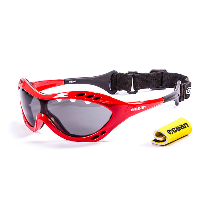 Ocean sunglasses model costa rica 11801.3 with shiny white frame and revo red lens polarized eyewear for water sports