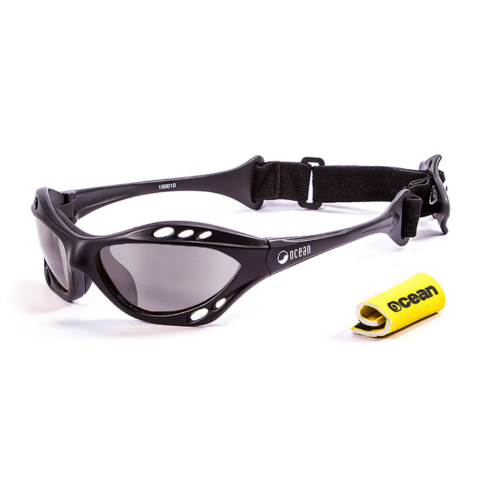 Ocean sunglasses model cumbuco 15000.3 with shiny white frame and smoke lens polarized eyewear for water sports