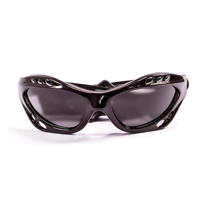 Ocean sunglasses model cumbuco 15000.0 with matte black frame and smoke lens polarized eyewear for water sports