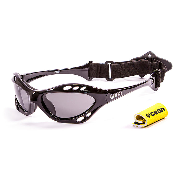 Ocean sunglasses model cumbuco 15000.1 with shiny black frame and smoke lens polarized eyewear for water sports