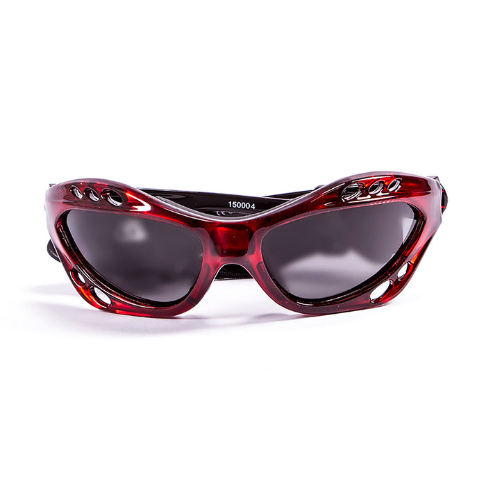 Ocean sunglasses model cumbuco 15001.1 with shiny black frame and revo red lens polarized eyewear for water sports