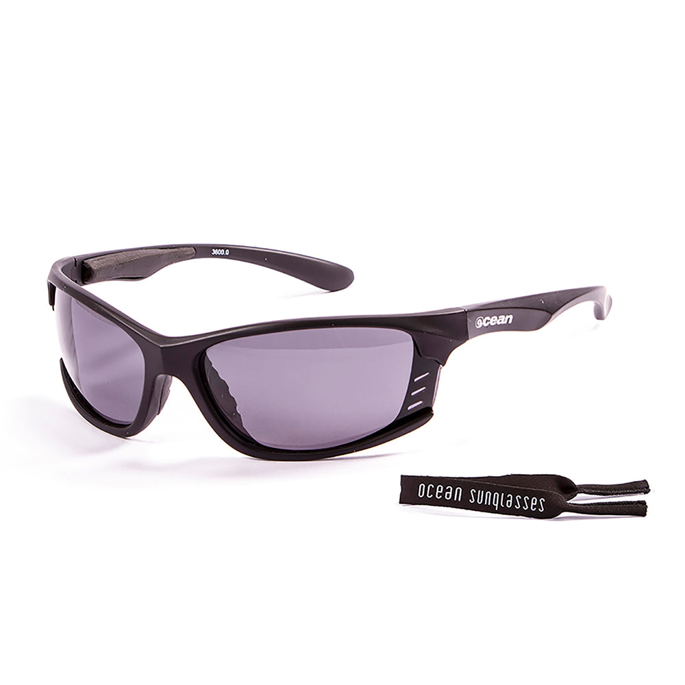 Ocean sunglasses model cyprus 3600.0 with matte black frame and smoke lens polarized eyewear for water sports