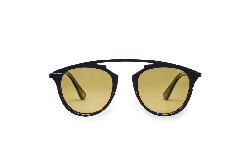 KYPERS sunglasses model ELITSA EL002 with dark havana frame and gold revo lens