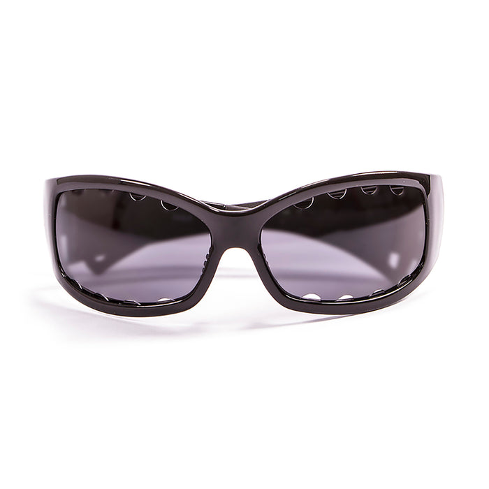 Ocean sunglasses model fuerteventura 1112.0 with shiny black frame and smoke lens polarized eyewear for water sports