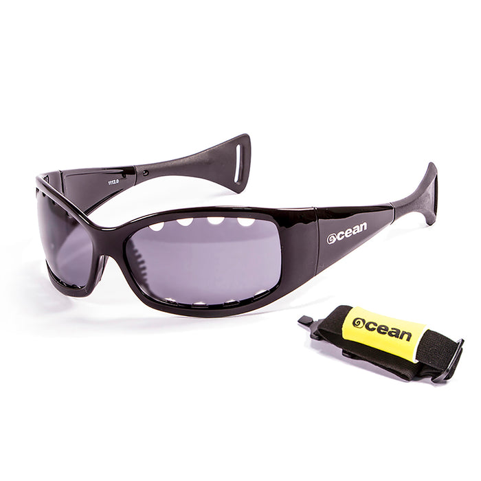 Ocean sunglasses model fuerteventura 1112.1 with matte black frame and smoke lens polarized eyewear for water sports