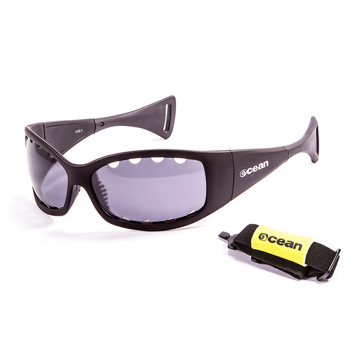 Ocean sunglasses model fuerteventura 1112.3 with white frame and smoke lens polarized eyewear for water sports