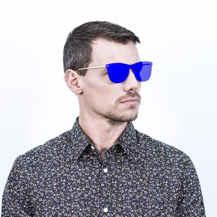 ocean sunglasses KRNglasses model GENOVA SKU 23.24 with transparent black frame and blue mirror lens