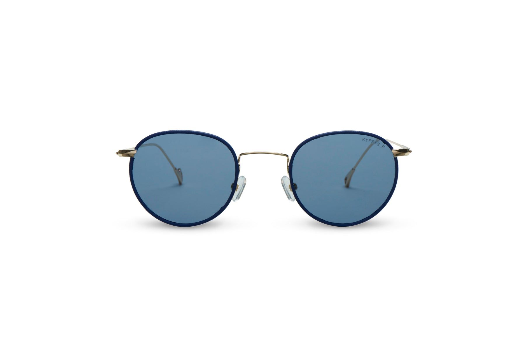 KYPERS sunglasses model GRAZY GY001 with gold & blue rim frame and blue lens