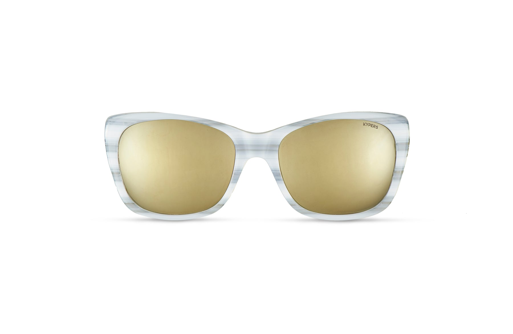 KYPERS sunglasses model GRETA GT001 with white frame and gold mirror lens