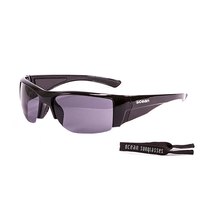 Ocean sunglasses model guadalupe 3500.1 with shiny black frame and smoke lens polarized eyewear for water sports