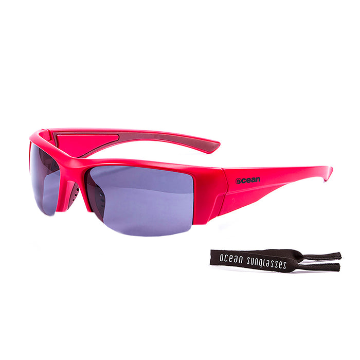 Ocean sunglasses model guadalupe 3501.0 with matte black frame and revo blue lens polarized eyewear for water sports