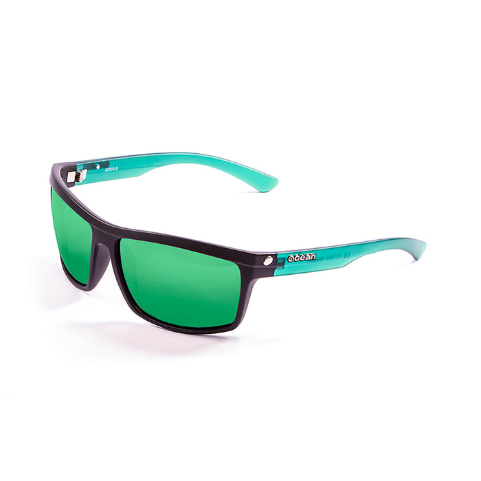 ocean sunglasses KRNglasses model JOHN SKU 20000.1 with shiny black frame and smoke lens