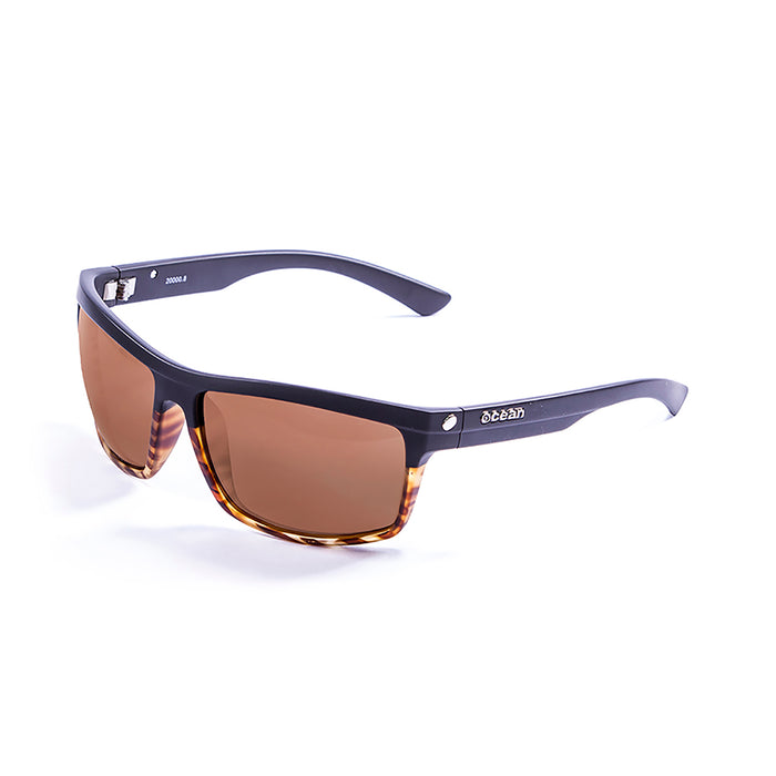 ocean sunglasses KRNglasses model JOHN SKU 20000.8 with matte black & demy brown frame and brown lens