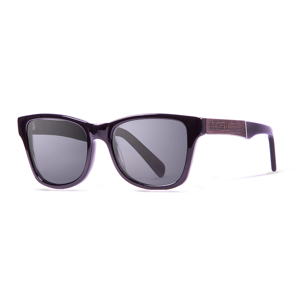 ocean sunglasses KRNglasses model LAGUNA SKU 11100.1 with shiny black & ebony frame and smoke lens