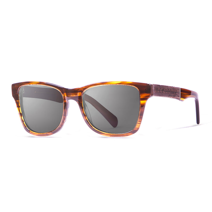 ocean sunglasses KRNglasses model LAGUNA SKU 11110.1 with shiny black & elm burl frame and smoke lens