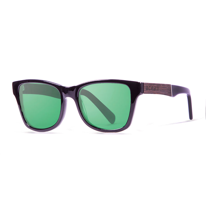 ocean sunglasses KRNglasses model LAGUNA SKU 11101.1 with shiny black & ebony frame and revo blue lens