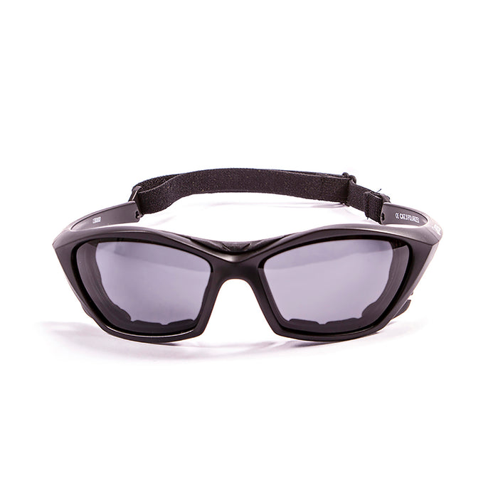 Ocean sunglasses model lake garda 13000.0 with matte black frame and smoke lens polarized eyewear for water sports