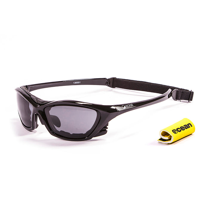Ocean sunglasses model lake garda 13000.3 with shiny white frame and smoke lens polarized eyewear for water sports
