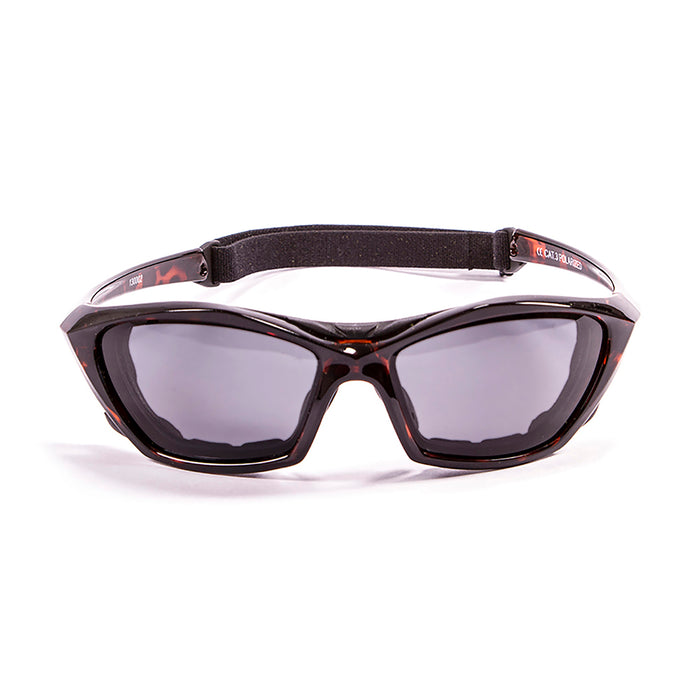 Ocean sunglasses model lake garda 13000.4 with red frame and smoke lens polarized eyewear for water sports